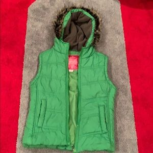 Girls Fur Hooded Vest with Front Pockets